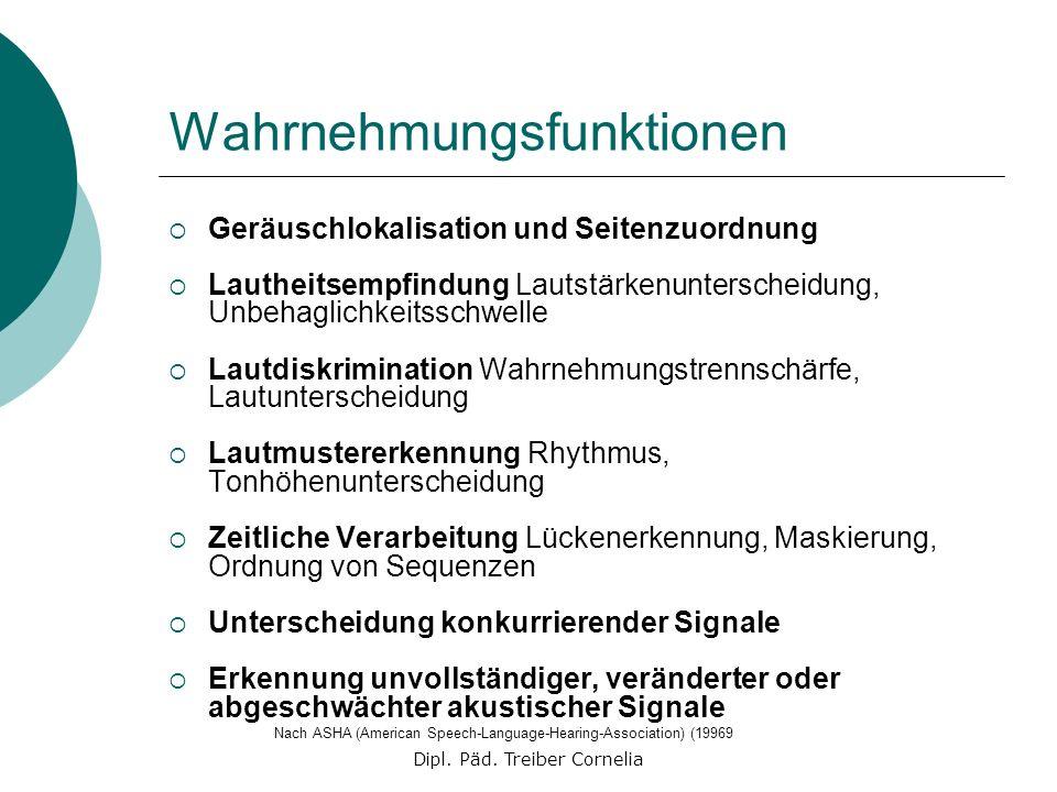 Dipl. Päd. Treiber Cornelia Wahrnehmungsfunktionen Geräuschlokalisation und Seitenzuordnung Lautheitsempfindung Lautstärkenunterscheidung, Unbehaglich