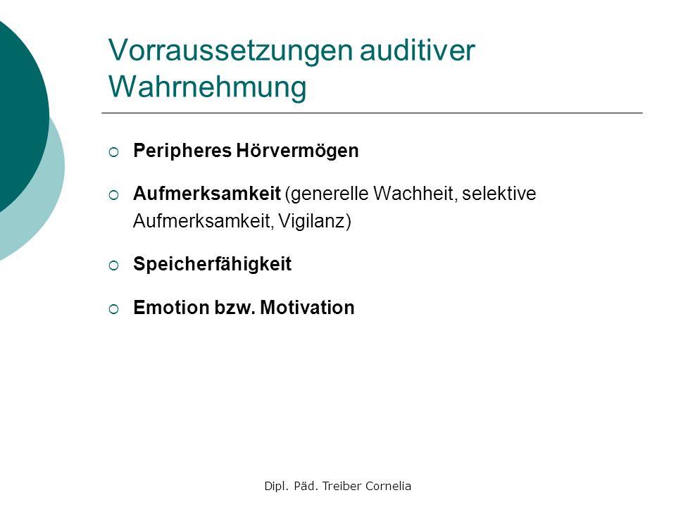 Dipl. Päd. Treiber Cornelia Vorraussetzungen auditiver Wahrnehmung Peripheres Hörvermögen Aufmerksamkeit (generelle Wachheit, selektive Aufmerksamkeit