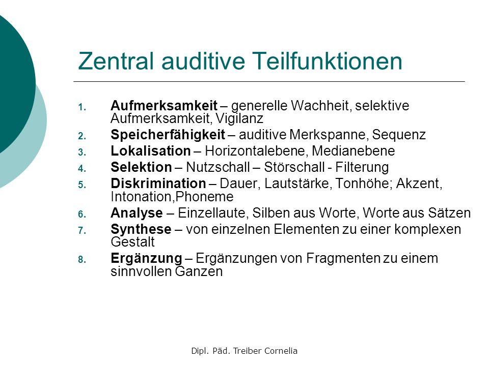 Dipl. Päd. Treiber Cornelia Zentral auditive Teilfunktionen 1. Aufmerksamkeit – generelle Wachheit, selektive Aufmerksamkeit, Vigilanz 2. Speicherfähi