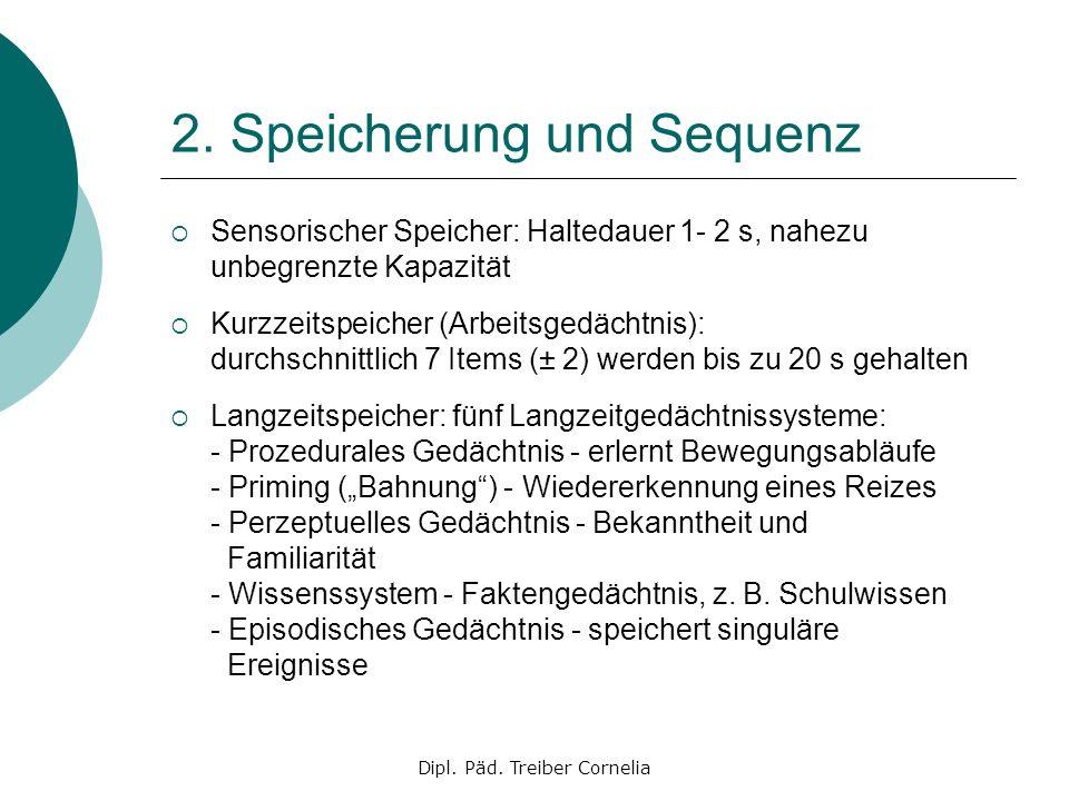 Dipl. Päd. Treiber Cornelia 2. Speicherung und Sequenz Sensorischer Speicher: Haltedauer 1- 2 s, nahezu unbegrenzte Kapazität Kurzzeitspeicher (Arbeit