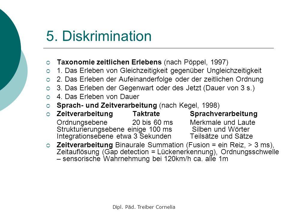 Dipl. Päd. Treiber Cornelia 5. Diskrimination Taxonomie zeitlichen Erlebens (nach Pöppel, 1997) 1. Das Erleben von Gleichzeitigkeit gegenüber Ungleich