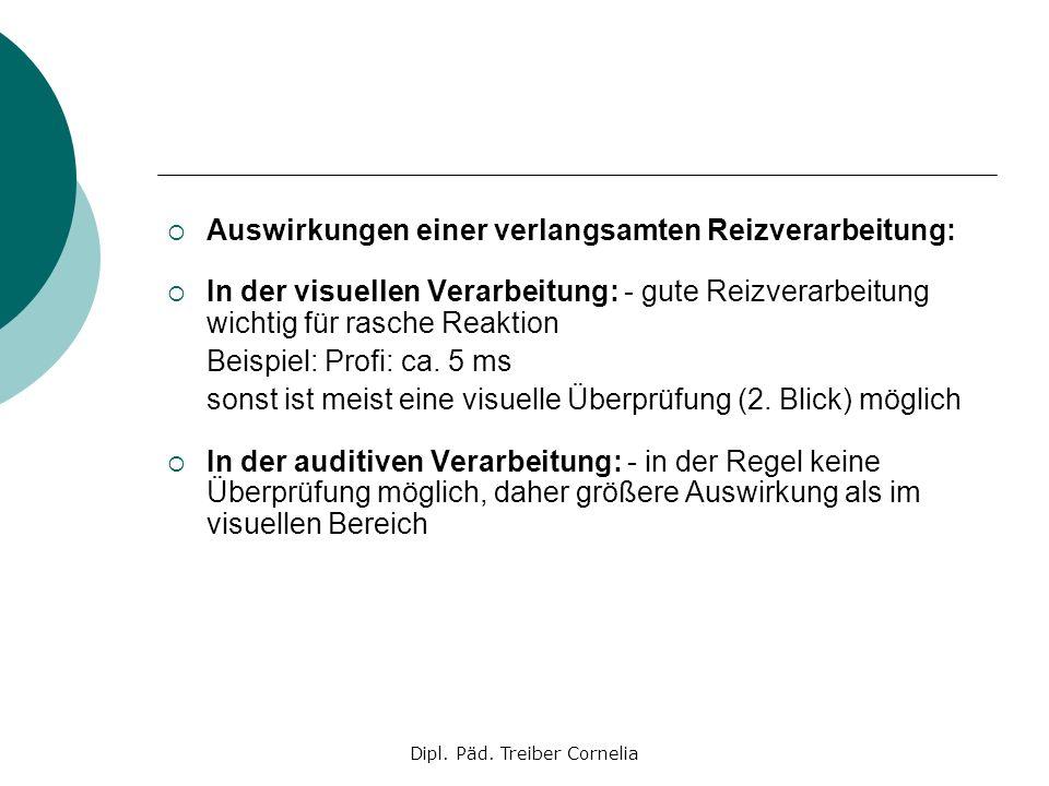 Dipl. Päd. Treiber Cornelia Auswirkungen einer verlangsamten Reizverarbeitung: In der visuellen Verarbeitung: - gute Reizverarbeitung wichtig für rasc