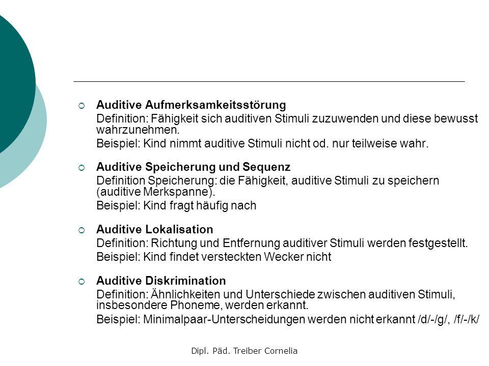 Dipl. Päd. Treiber Cornelia Auditive Aufmerksamkeitsstörung Definition: Fähigkeit sich auditiven Stimuli zuzuwenden und diese bewusst wahrzunehmen. Be