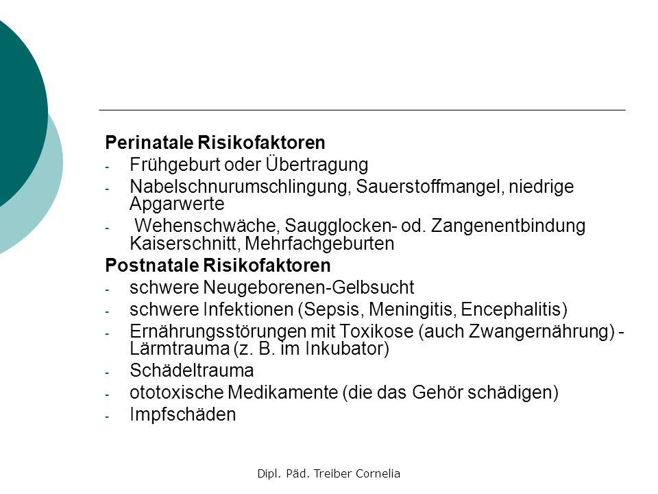 Dipl. Päd. Treiber Cornelia Perinatale Risikofaktoren - Frühgeburt oder Übertragung - Nabelschnurumschlingung, Sauerstoffmangel, niedrige Apgarwerte -