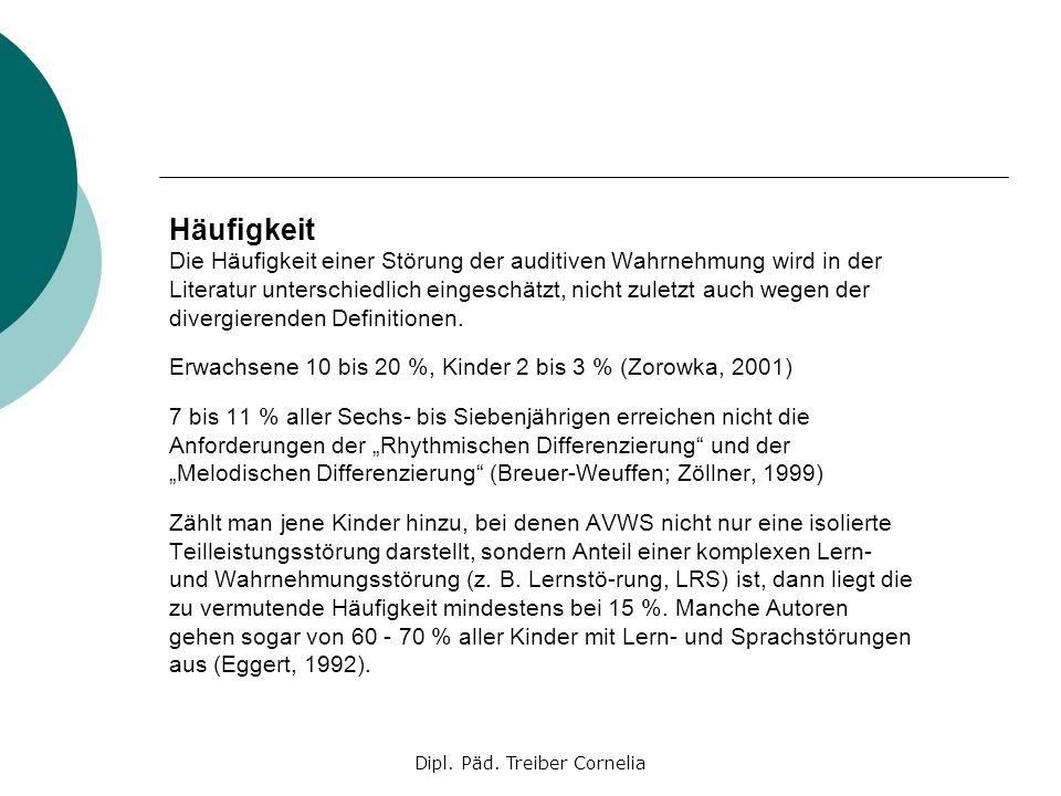 Dipl. Päd. Treiber Cornelia Häufigkeit Die Häufigkeit einer Störung der auditiven Wahrnehmung wird in der Literatur unterschiedlich eingeschätzt, nich