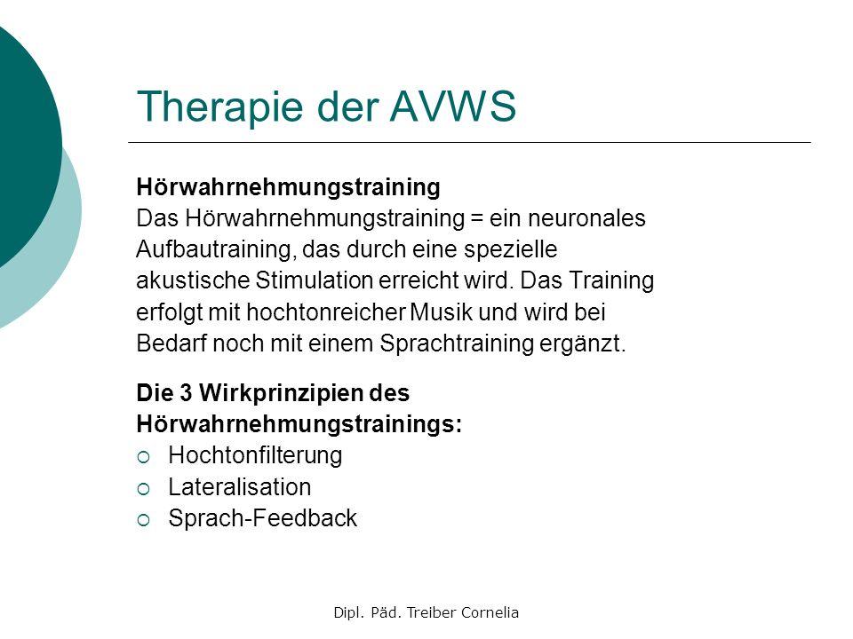 Dipl. Päd. Treiber Cornelia Therapie der AVWS Hörwahrnehmungstraining Das Hörwahrnehmungstraining = ein neuronales Aufbautraining, das durch eine spez