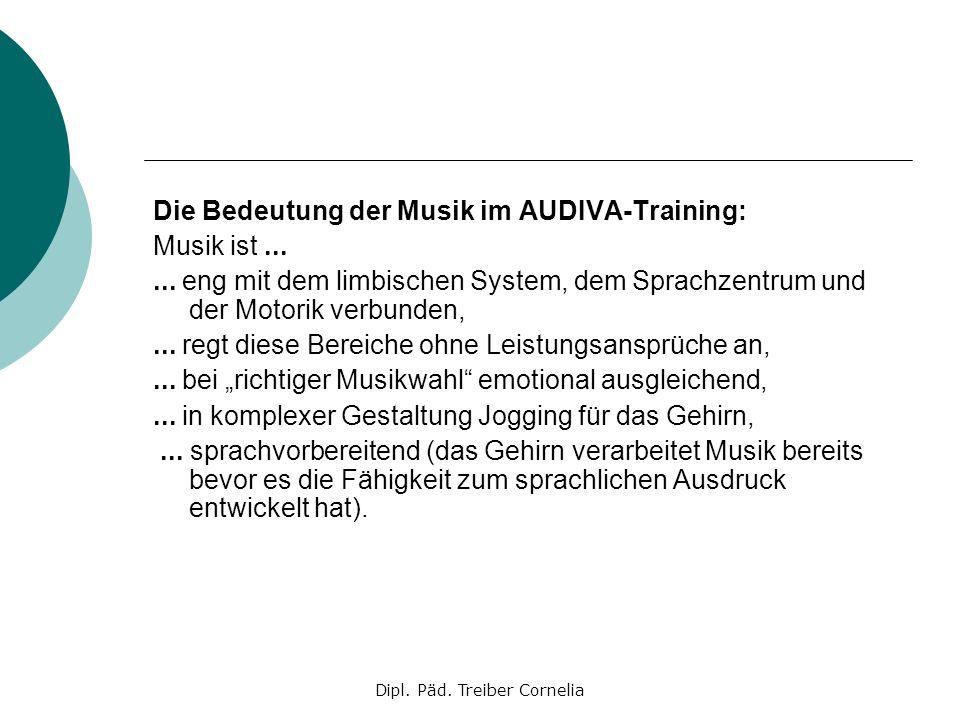 Dipl. Päd. Treiber Cornelia Die Bedeutung der Musik im AUDIVA-Training: Musik ist...... eng mit dem limbischen System, dem Sprachzentrum und der Motor