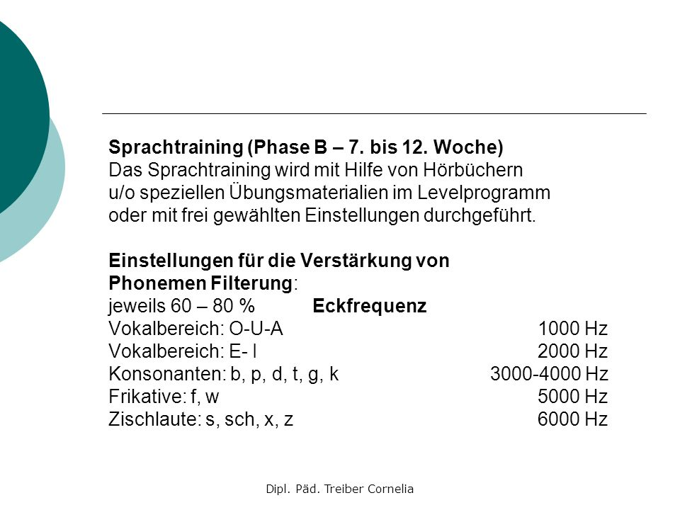 Dipl. Päd. Treiber Cornelia Sprachtraining (Phase B – 7. bis 12. Woche) Das Sprachtraining wird mit Hilfe von Hörbüchern u/o speziellen Übungsmaterial