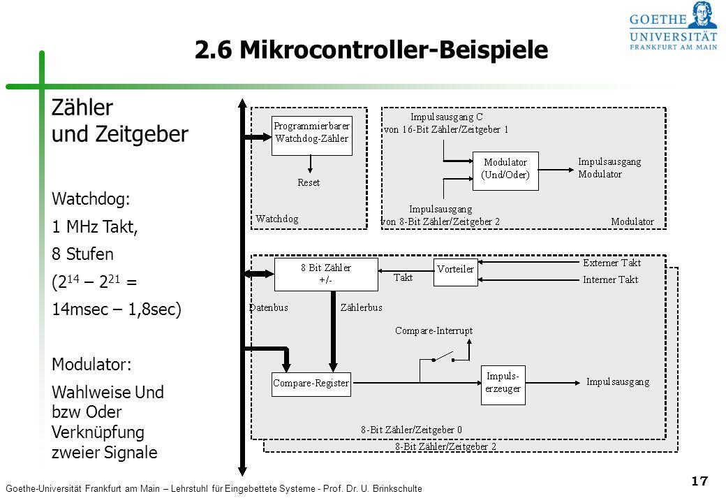 Goethe-Universität Frankfurt am Main – Lehrstuhl für Eingebettete Systeme - Prof. Dr. U. Brinkschulte 17 2.6 Mikrocontroller-Beispiele Zähler und Zeit