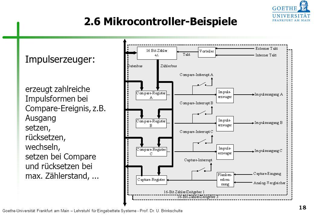 Goethe-Universität Frankfurt am Main – Lehrstuhl für Eingebettete Systeme - Prof. Dr. U. Brinkschulte 18 2.6 Mikrocontroller-Beispiele Impulserzeuger: