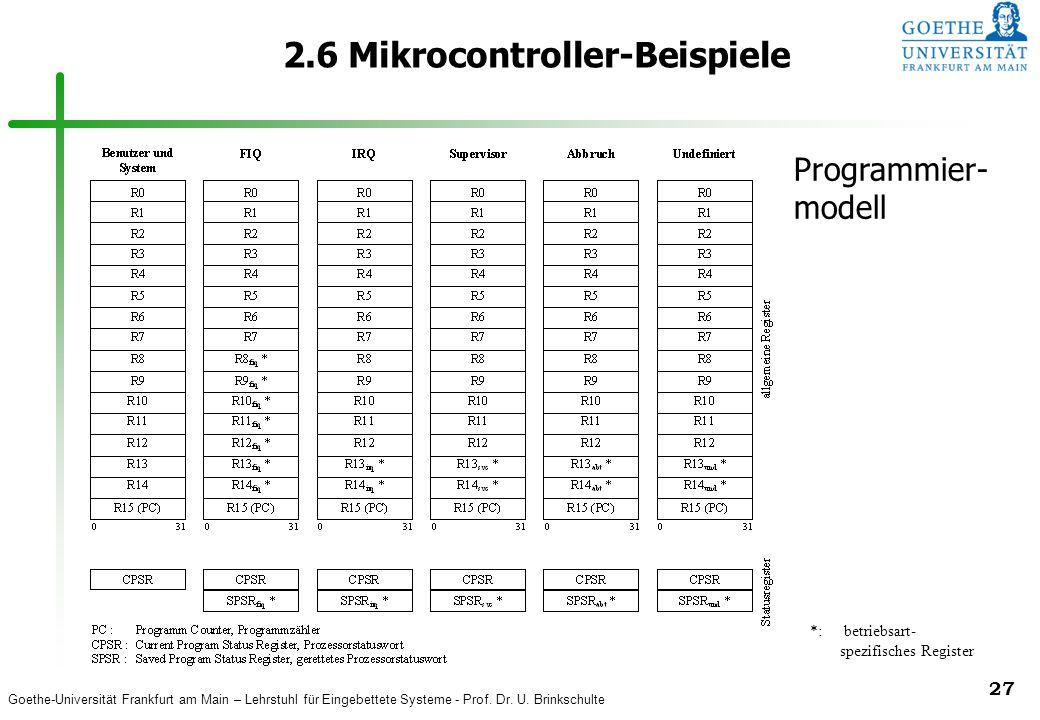 Goethe-Universität Frankfurt am Main – Lehrstuhl für Eingebettete Systeme - Prof. Dr. U. Brinkschulte 27 2.6 Mikrocontroller-Beispiele *: betriebsart-