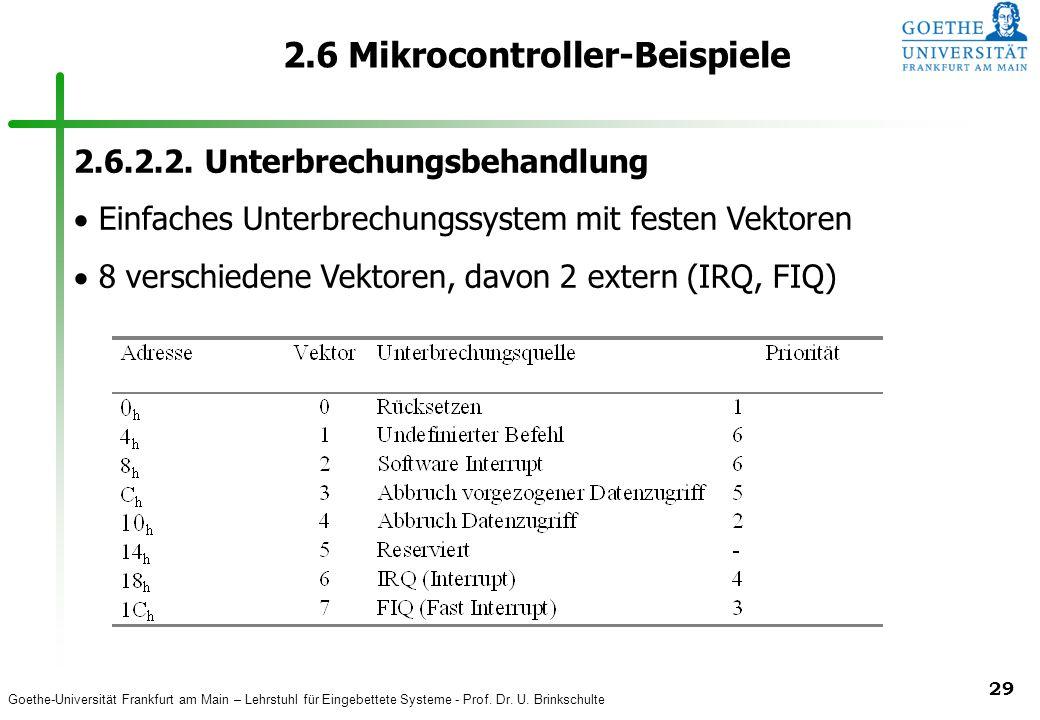 Goethe-Universität Frankfurt am Main – Lehrstuhl für Eingebettete Systeme - Prof. Dr. U. Brinkschulte 29 2.6 Mikrocontroller-Beispiele 2.6.2.2. Unterb