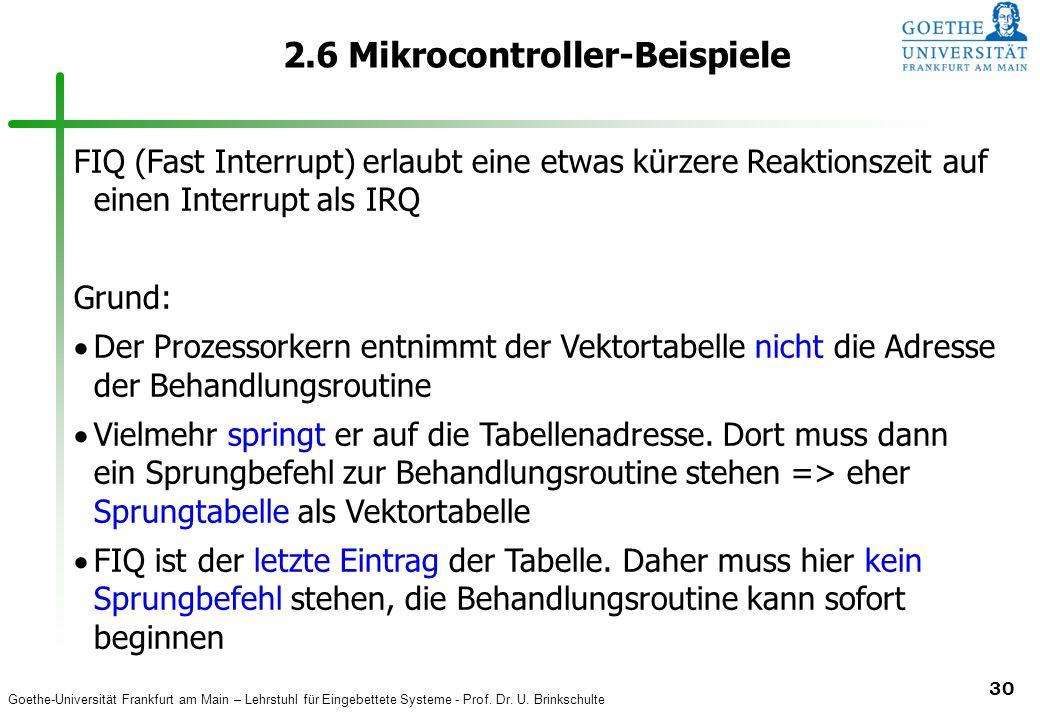 Goethe-Universität Frankfurt am Main – Lehrstuhl für Eingebettete Systeme - Prof. Dr. U. Brinkschulte 30 2.6 Mikrocontroller-Beispiele FIQ (Fast Inter
