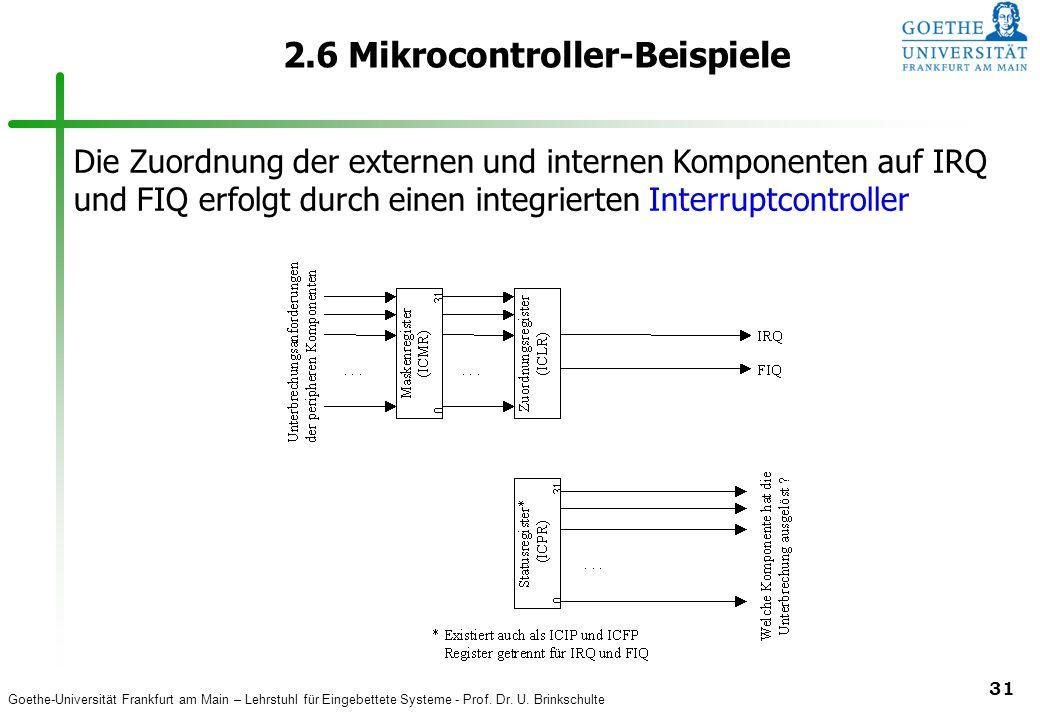 Goethe-Universität Frankfurt am Main – Lehrstuhl für Eingebettete Systeme - Prof. Dr. U. Brinkschulte 31 2.6 Mikrocontroller-Beispiele Die Zuordnung d