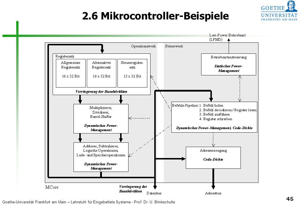 Goethe-Universität Frankfurt am Main – Lehrstuhl für Eingebettete Systeme - Prof. Dr. U. Brinkschulte 45 2.6 Mikrocontroller-Beispiele