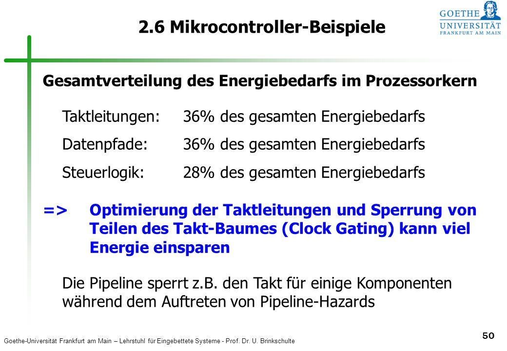 Goethe-Universität Frankfurt am Main – Lehrstuhl für Eingebettete Systeme - Prof. Dr. U. Brinkschulte 50 2.6 Mikrocontroller-Beispiele Gesamtverteilun