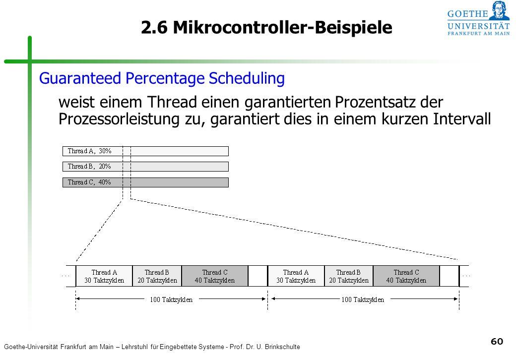 Goethe-Universität Frankfurt am Main – Lehrstuhl für Eingebettete Systeme - Prof. Dr. U. Brinkschulte 60 2.6 Mikrocontroller-Beispiele Guaranteed Perc