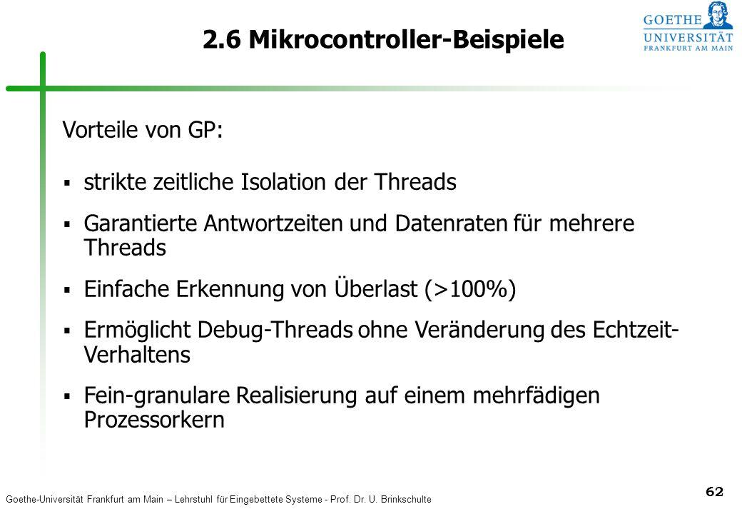 Goethe-Universität Frankfurt am Main – Lehrstuhl für Eingebettete Systeme - Prof. Dr. U. Brinkschulte 62 2.6 Mikrocontroller-Beispiele Vorteile von GP