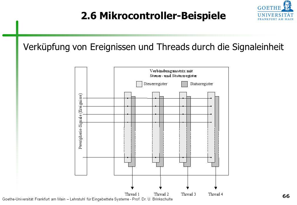 Goethe-Universität Frankfurt am Main – Lehrstuhl für Eingebettete Systeme - Prof. Dr. U. Brinkschulte 66 2.6 Mikrocontroller-Beispiele Verküpfung von