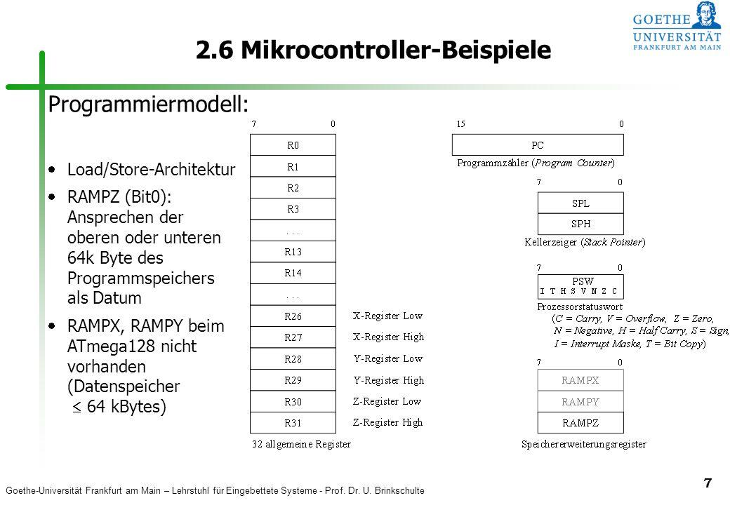 Goethe-Universität Frankfurt am Main – Lehrstuhl für Eingebettete Systeme - Prof. Dr. U. Brinkschulte 7 2.6 Mikrocontroller-Beispiele Programmiermodel