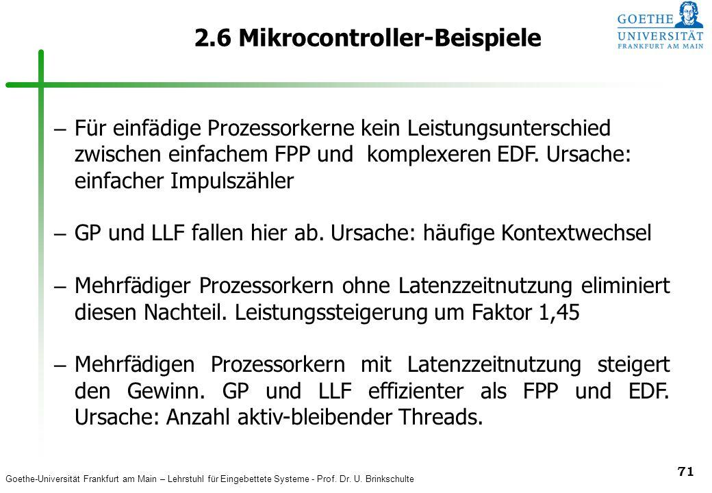 Goethe-Universität Frankfurt am Main – Lehrstuhl für Eingebettete Systeme - Prof. Dr. U. Brinkschulte 71 2.6 Mikrocontroller-Beispiele – Für einfädige