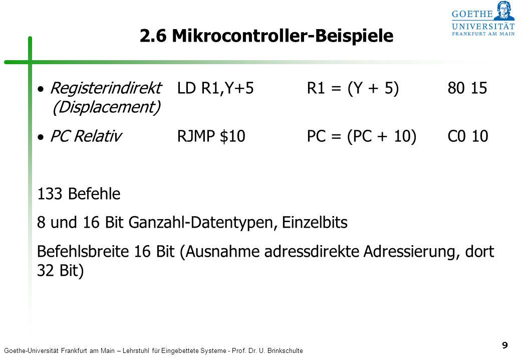 Goethe-Universität Frankfurt am Main – Lehrstuhl für Eingebettete Systeme - Prof. Dr. U. Brinkschulte 9 2.6 Mikrocontroller-Beispiele Registerindirekt