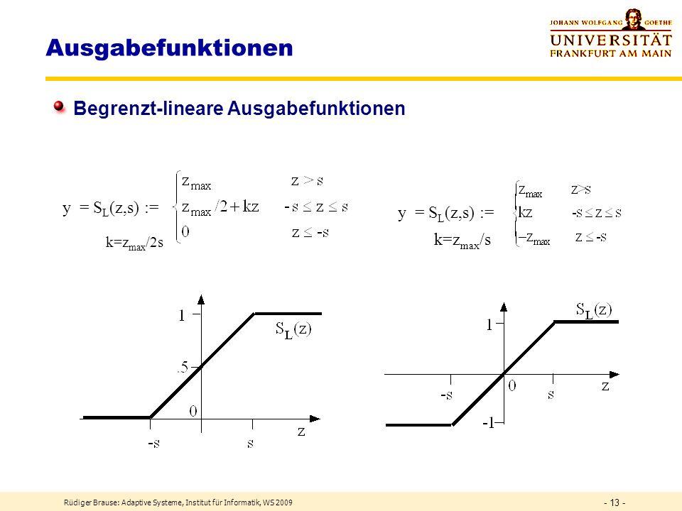 Rüdiger Brause: Adaptive Systeme, Institut für Informatik, WS 2009 - 12 - Formale Neuronen Anwendung binäre Funktion: log. Gatter x1x1 x2x2 z=x 1 /2 +