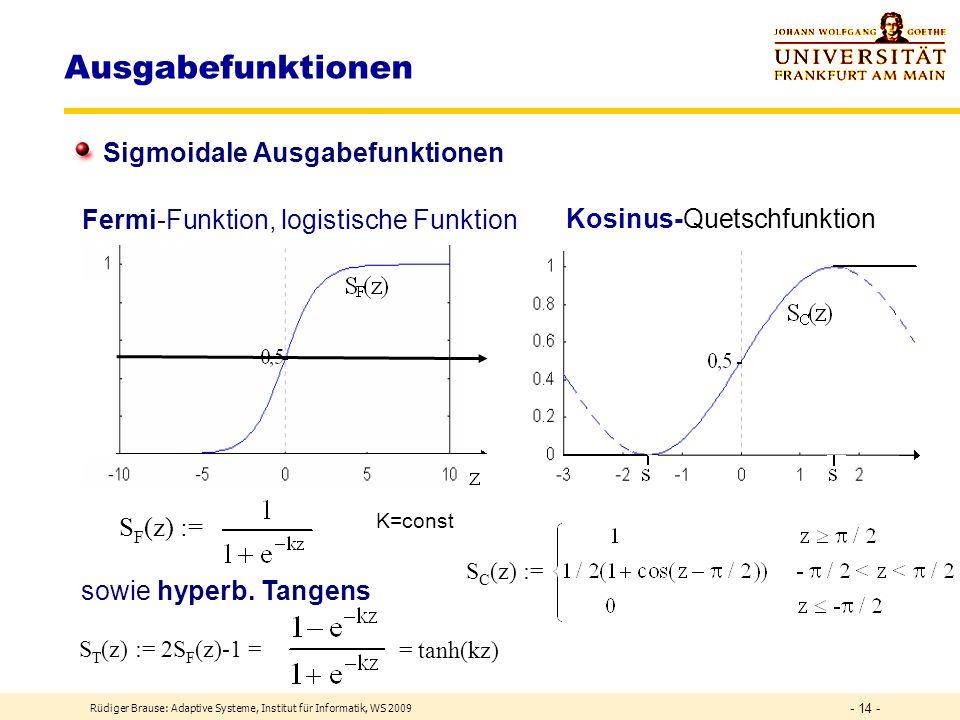 Rüdiger Brause: Adaptive Systeme, Institut für Informatik, WS 2009 - 13 - Ausgabefunktionen Begrenzt-lineare Ausgabefunktionen y = S L (z,s) := k=z ma