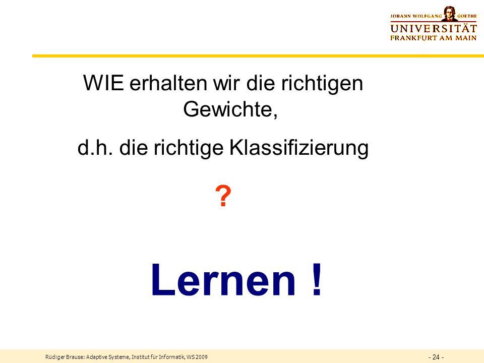 Rüdiger Brause: Adaptive Systeme, Institut für Informatik, WS 2009 - 23 - Klassentrennung durch formales Neuron Klassentrennung durch binäres Neuron z