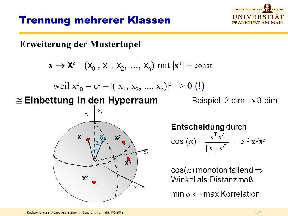 Rüdiger Brause: Adaptive Systeme, Institut für Informatik, WS 2009 - 29 - Trennung mehrerer Klassen Problem: Klassenentscheidung über Korrelationsgröß