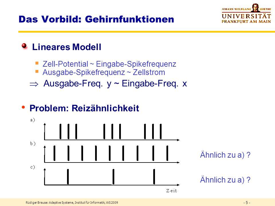 Rüdiger Brause: Adaptive Systeme, Institut für Informatik, WS 2009 - 5 - Das Vorbild: Gehirnfunktionen Lineares Modell Zell-Potential ~ Eingabe-Spikefrequenz Ausgabe-Spikefrequenz ~ Zellstrom Ausgabe-Freq.
