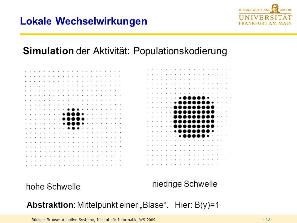 - 10 - Lokale Wechselwirkungen Simulation der Aktivität: Populationskodierung hohe Schwelle niedrige Schwelle Abstraktion: Mittelpunkt einer Blase.