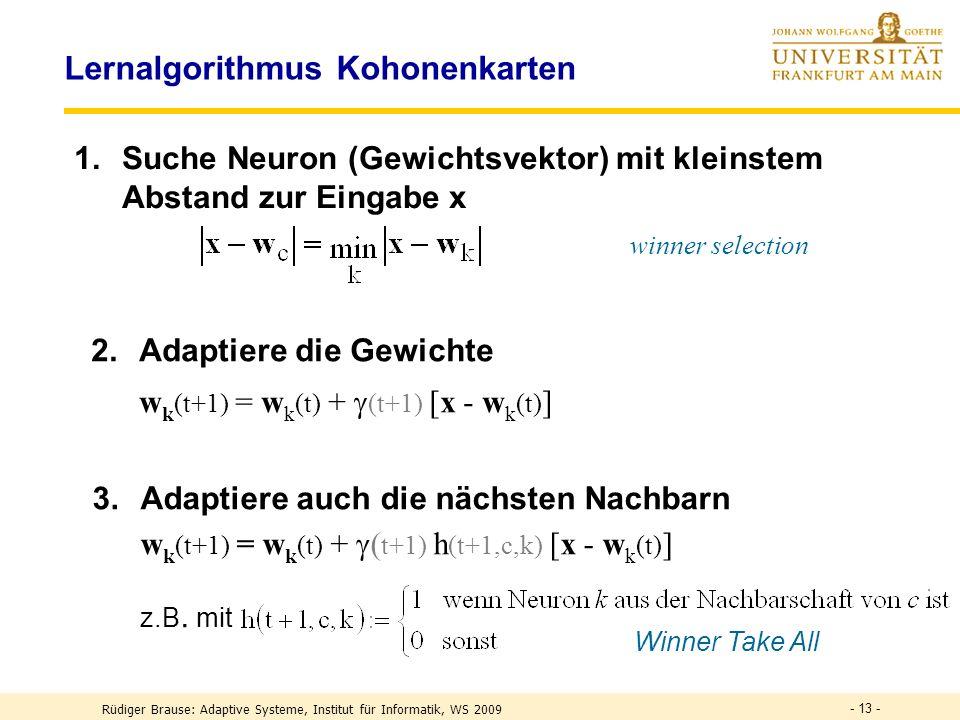 - 13 - Lernalgorithmus Kohonenkarten 1.Suche Neuron (Gewichtsvektor) mit kleinstem Abstand zur Eingabe x winner selection 3.Adaptiere auch die nächsten Nachbarn w k (t+1) = w k (t) + ( t+1) h (t+1,c,k) [x - w k (t) ] z.B.