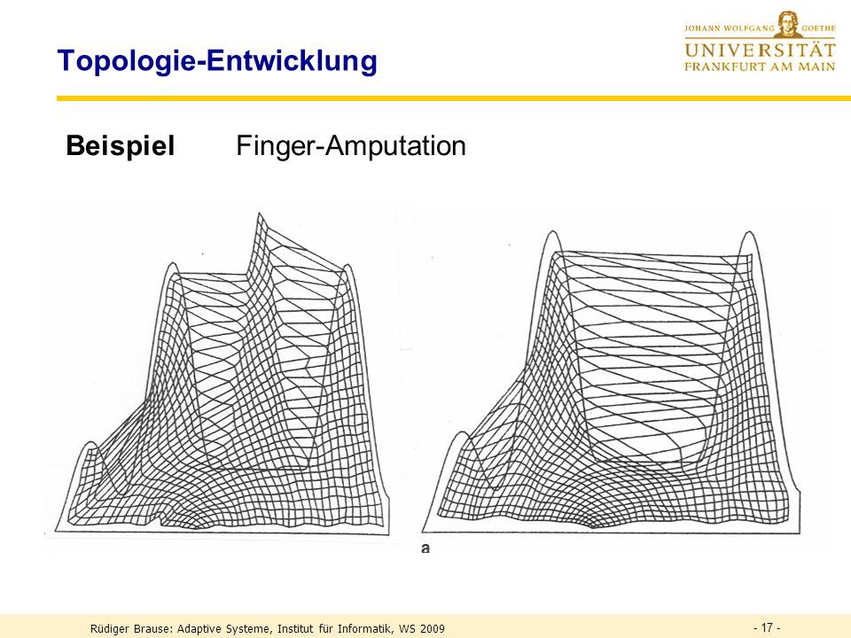 - 17 - Topologie-Entwicklung BeispielFinger-Amputation Rüdiger Brause: Adaptive Systeme, Institut für Informatik, WS 2009
