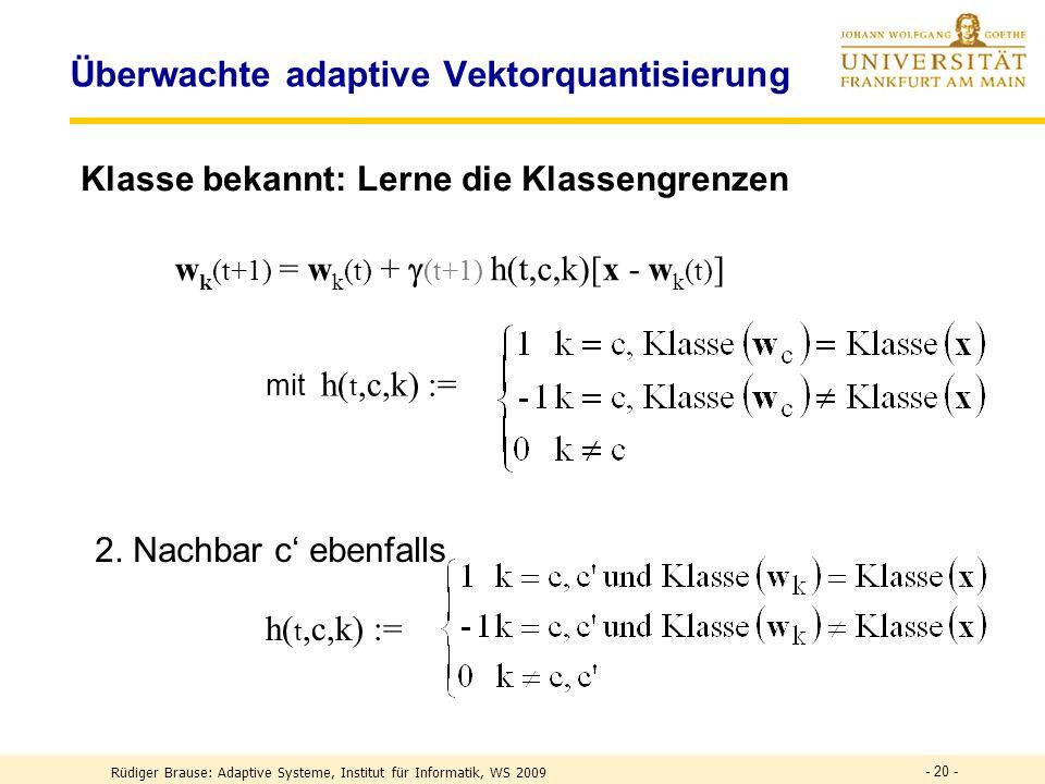 - 20 - Überwachte adaptive Vektorquantisierung Klasse bekannt: Lerne die Klassengrenzen mit h( t,c,k) := w k (t+1) = w k (t) + (t+1) h(t,c,k)[x - w k (t) ] h( t,c,k) := 2.