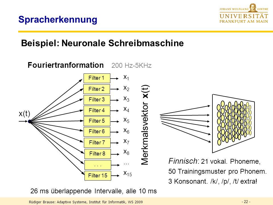 - 22 - Spracherkennung Beispiel: Neuronale Schreibmaschine x 1 x 2 x 3 x 4 x 5 x 6 x 7 x 8...