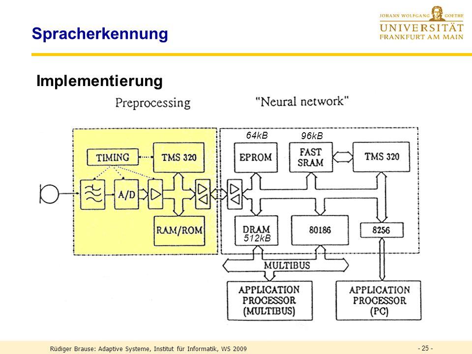 - 25 - Spracherkennung Implementierung 96kB 64kB 512kB Rüdiger Brause: Adaptive Systeme, Institut für Informatik, WS 2009