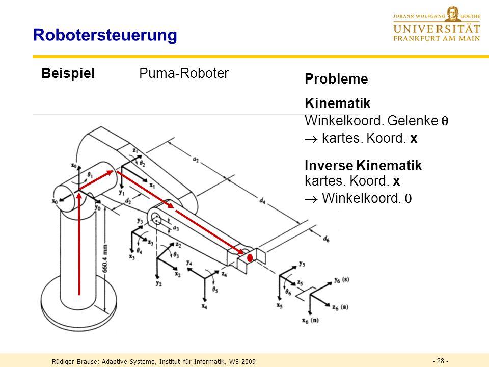 - 28 - Robotersteuerung BeispielPuma-Roboter Probleme Kinematik Winkelkoord.