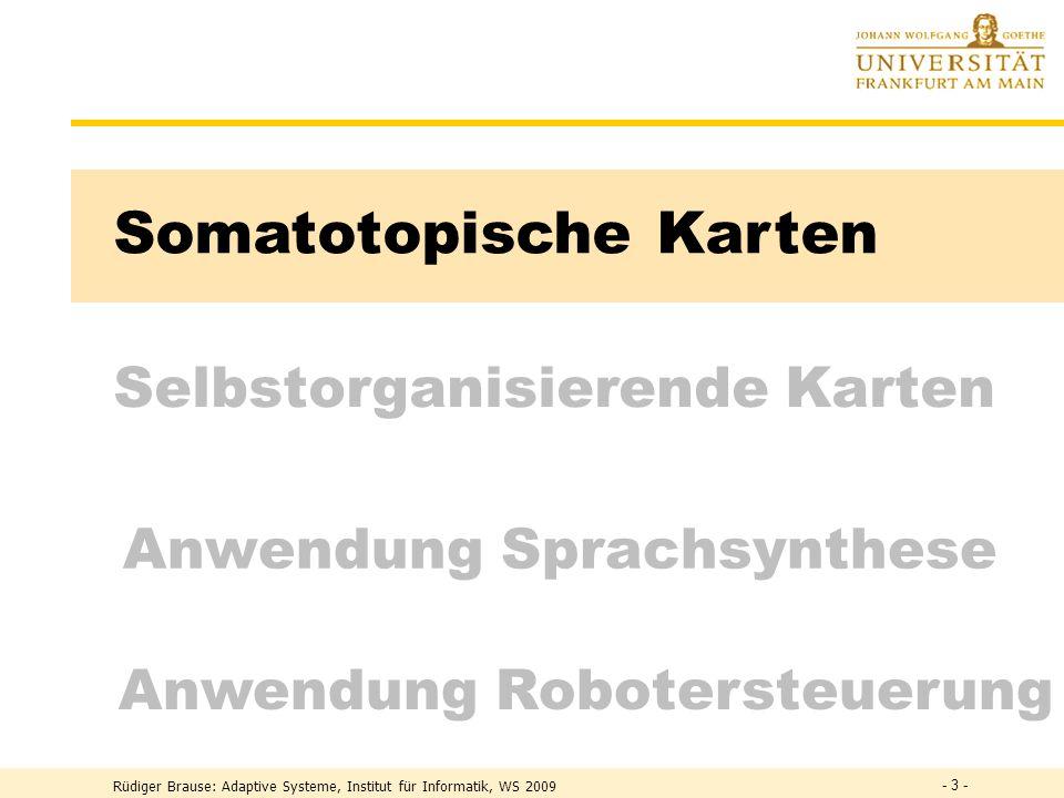 Selbstorganisierende Karten Somatotopische Karten Anwendung Robotersteuerung Anwendung Sprachsynthese - 3 -