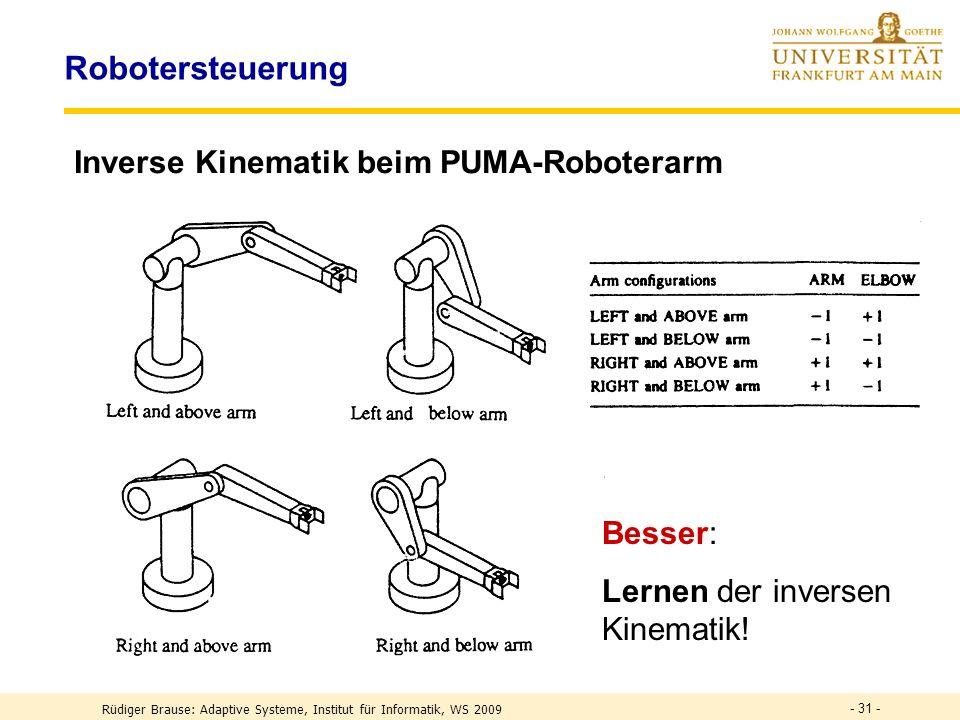 - 31 - Robotersteuerung Inverse Kinematik beim PUMA-Roboterarm Besser: Lernen der inversen Kinematik.