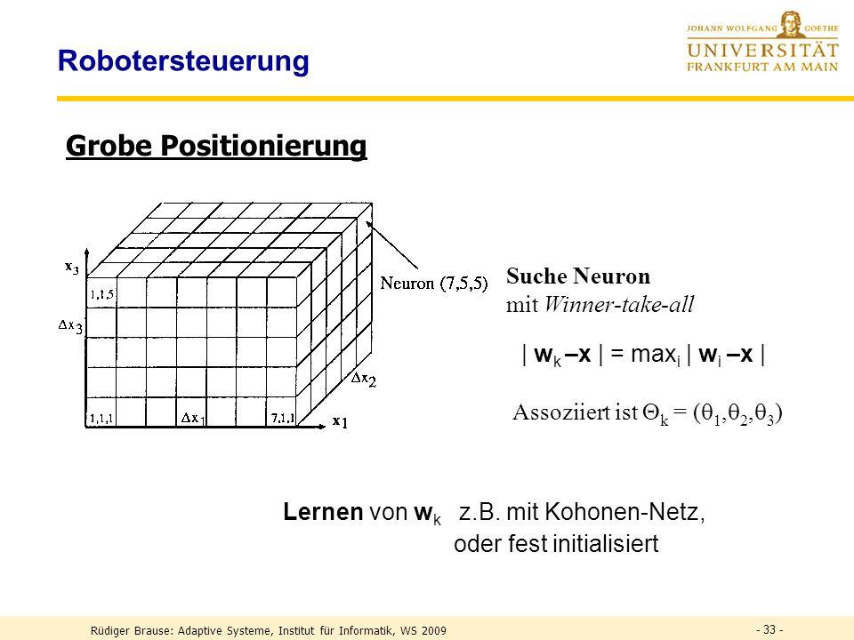 - 33 - Robotersteuerung Grobe Positionierung Suche Neuron mit Winner-take-all Assoziiert ist k = ( 1, 2, 3 ) Lernen von w k z.B.