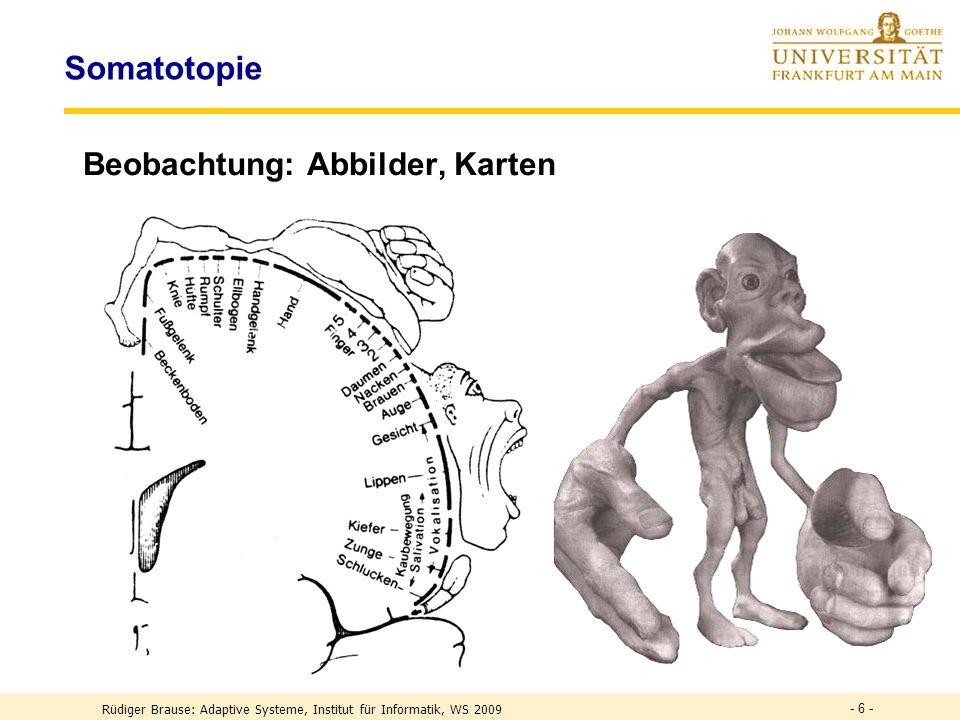 - 6 - Somatotopie Beobachtung: Abbilder, Karten Rüdiger Brause: Adaptive Systeme, Institut für Informatik, WS 2009