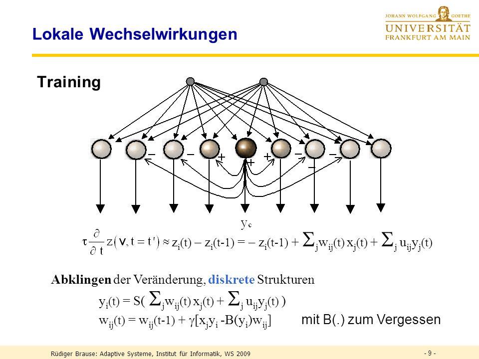 - 9 - Lokale Wechselwirkungen Training z i (t) – z i (t-1) = – z i (t-1) + j w ij (t) x j (t) + j u ij y j (t) Abklingen der Veränderung, diskrete Strukturen y i (t) = S( j w ij (t) x j (t) + j u ij y j (t) ) w ij (t) = w ij (t-1) + [x j y i -B(y i )w ij ] mit B(.) zum Vergessen Rüdiger Brause: Adaptive Systeme, Institut für Informatik, WS 2009