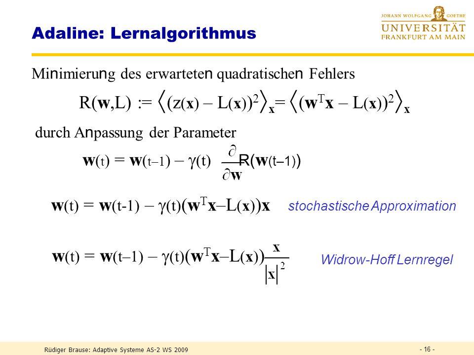 Rüdiger Brause: Adaptive Systeme AS-2 WS 2009 - 15 - Adaline: Aktivität Verlauf des Klassifizierungsfehlers bei Präsentation der T,G,F und Nachregelun
