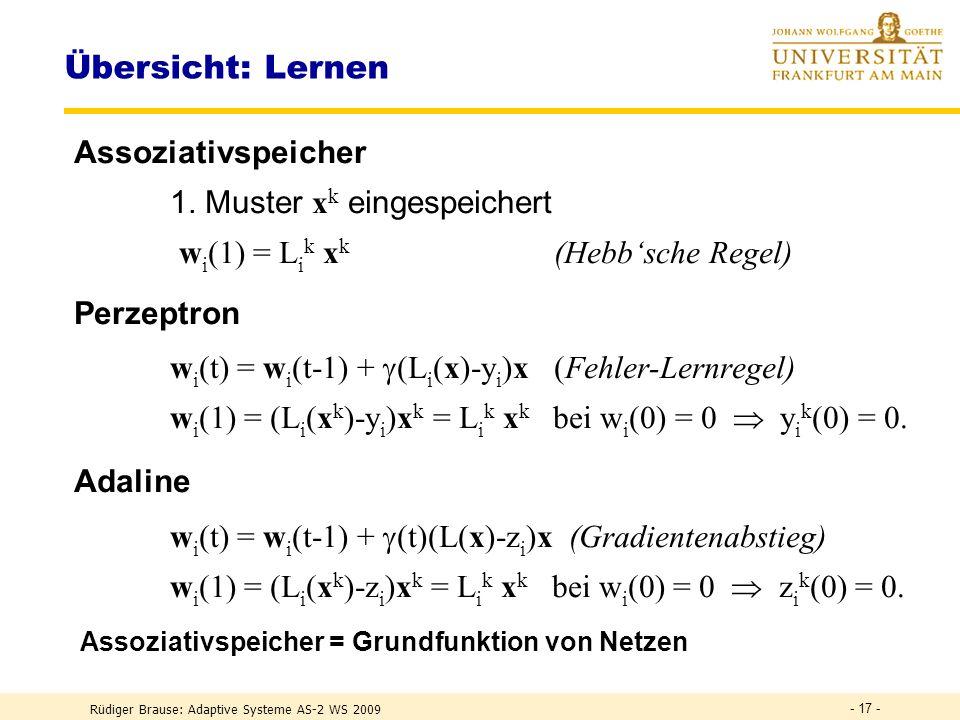Rüdiger Brause: Adaptive Systeme AS-2 WS 2009 - 16 - Adaline: Lernalgorithmus Mi n imieru n g des erwartete n quadratische n Fehlers R(w,L) := (z (x)