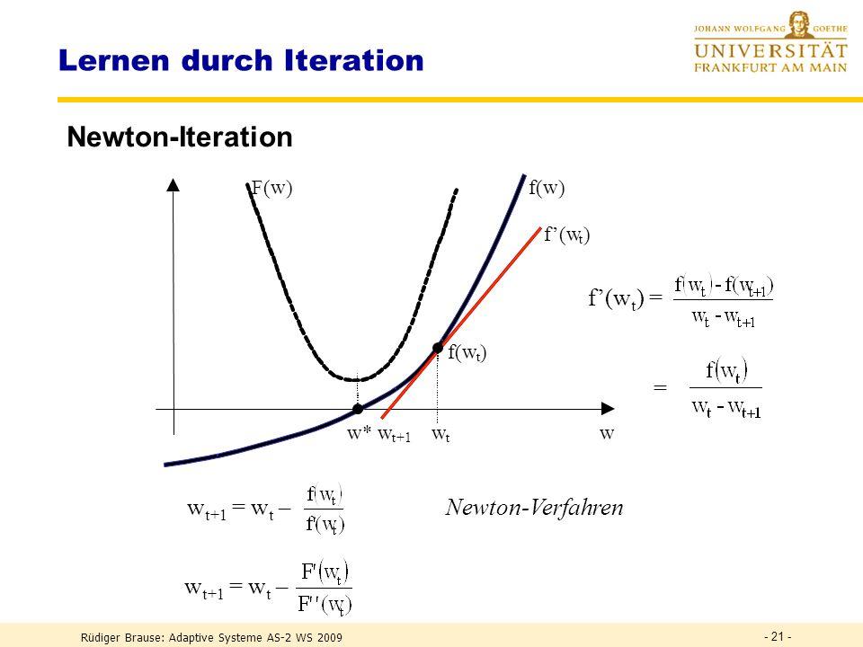 Rüdiger Brause: Adaptive Systeme AS-2 WS 2009 - 20 - Lernen durch Iteration Modifikationen Gradientenabstieg Taylorentwicklung f(x+ x) = f(x) + x + (