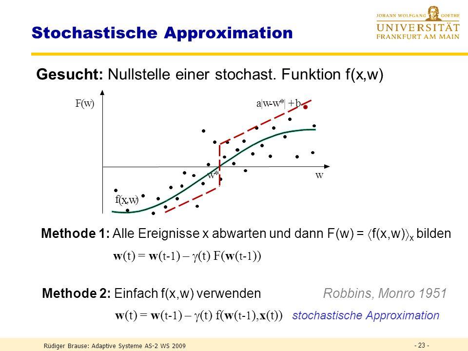 Rüdiger Brause: Adaptive Systeme AS-2 WS 2009 - 22 - Lernen durch Iteration Konvergenz des Gradientenverfahrens Es ist R (t) =Ljapunov-Funktion, wenn