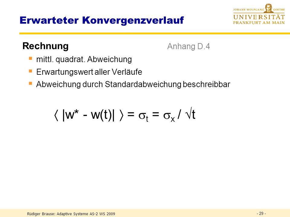 Rüdiger Brause: Adaptive Systeme AS-2 WS 2009 - 28 - Konvergenzverlauf x = 1