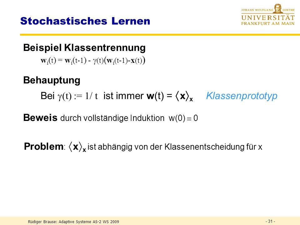 Rüdiger Brause: Adaptive Systeme AS-2 WS 2009 - 30 - Konvergenzverlauf w* = 1, x = 0,288 Abweichung w*(t)