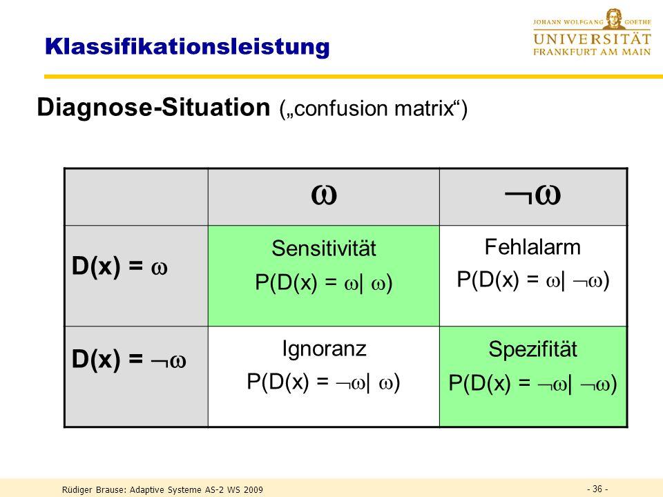 Rüdiger Brause: Adaptive Systeme AS-2 WS 2009 - 35 - Klassifikationsleistung Diagnose-Situation (Diagnose, Realität) NameWahrscheinlichkeit (D(x) = |